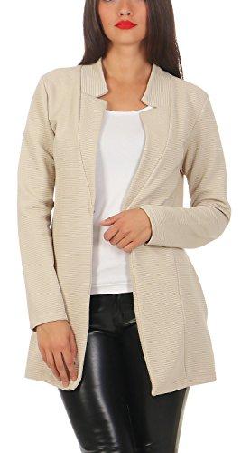 Damen lang Blazer mit Taschen (573), Farbe:Beige, Blazer 1:38 / M