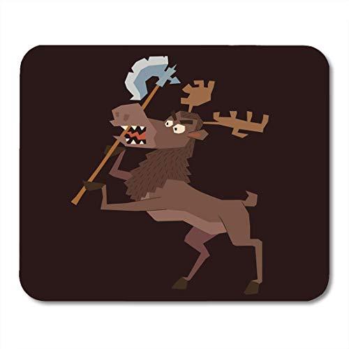 Muiskussentjes Cartoon van Grappig Bruin Heraldic Moose Staand op Hind Hooves met Bijl in De Donkere Armen Heraldry Emblem Mouse Pad