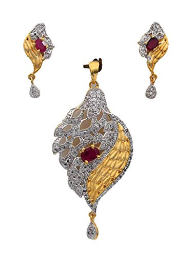 CaratYogi Colgante con pendiente de gota para mujeres y niñas, diseño único de rubí rosa CZ rubí medallón chapado en oro de 14 quilates joyería de novia regalo para mujer MSP 56-rosa