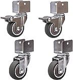 BXL T Ruedas Giratorias Ruedas para Cunas, con Forma de U de Montaje 2 Pulgadas 50 Mm de Muebles de Goma con Freno Silencioso, con Cojinetes Capacidad de Carga 200 Kg con Tornillos de 4 Srt,2 Frenos