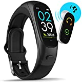 Fitness Activity Tracker with Bluetooth Wireless Earbud Built in Mic, Blood Pressure Tracker Heart Rate Monitor Sleep Tracking Smart Watch for Men Women, Compatible with iPhone Android Smart Phones
