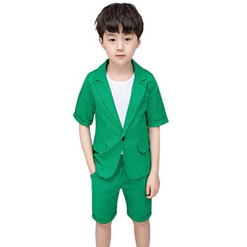 2-delig zomer jongens pak korte mouwen solide blazer + broek bruiloft party outfit