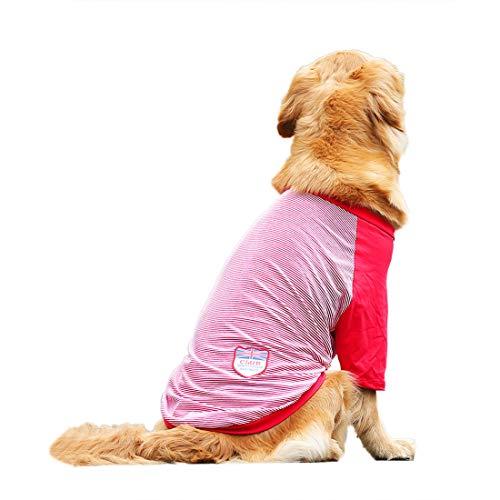 Hondenshirt, grote honden, gevoerde T-shirt, middelmatige honden, katoen, hemd, hondenkostuum, baseball, jersey, tee vest, voorjaar, zomer, kleding, ademend, 3XL, rood