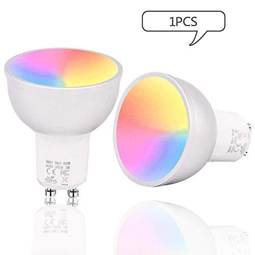 GULEHAY Bombilla de luz inteligente GU10 WIFI, multicolor, regulable,