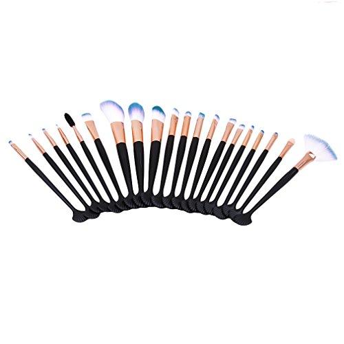 MOONRING 20 PCS Make Up Brushes Professional Foundation Eyeshadow Contour Brushes Set,Noir BK-HMJ