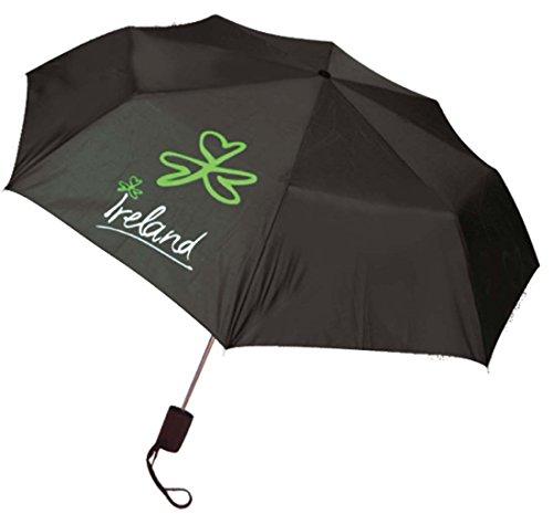Zwarte paraplu met Ierland & Shamrock print