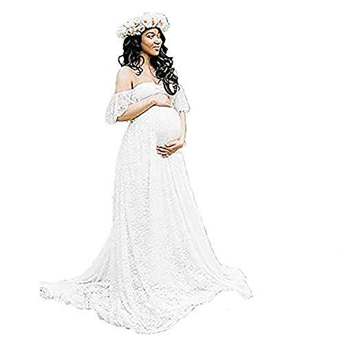 Vestido Largo de Maternidad con Hombros Descubiertos y Volantes de Encaje para Mujer (Blanco, Medium)