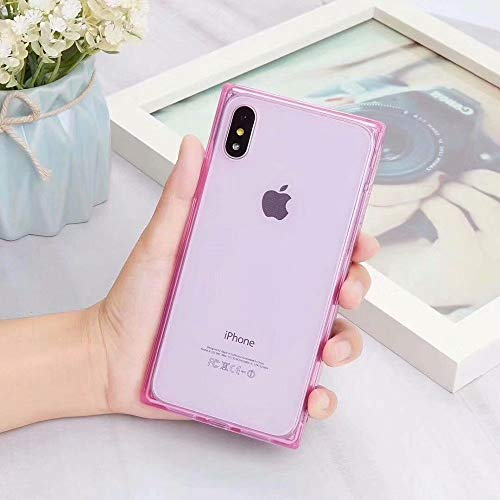 iPhone Xs MAX Square Case Transparent,Tzomsze Reinforced Corners TPU Cushion?Crystal Clear Slim Cover Shock Absorption TPU Silicone Shell-Pink
