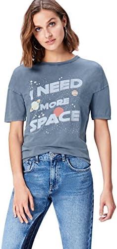 Marca Amazon - find. Camiseta con Mensaje con Cuello Redondo Mujer