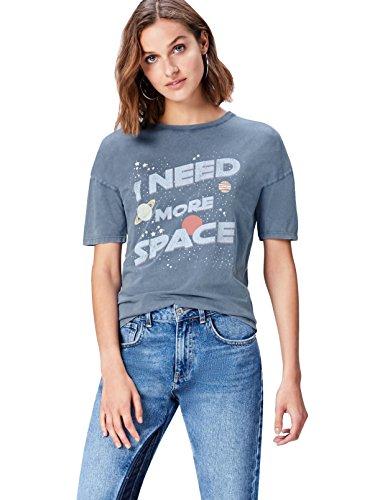 Marca Amazon - find. Camiseta con Mensaje con Cuello Redondo Mujer, Azul (Grey), 38, Label: S