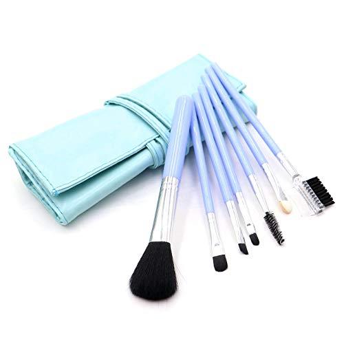 Jeu de 7 pinceaux de maquillage Sac de rangement pratique Pince à maquillage pour débutants pour fards à paupières, pinceau à lèvres, bleu clair