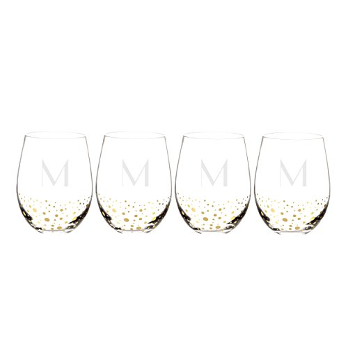 Cathy's Concepts GD1120-4-M Personalized Gold Dotted Stemless Wine Glass, Clear/Gold