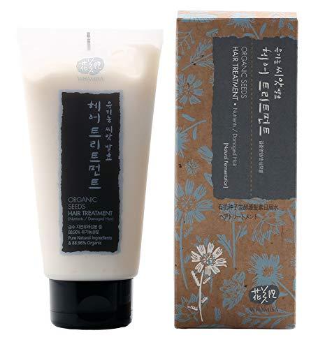 WHAMISA Organic Seeds Hair Treatment - 99.9% natürliche Inhaltsstoffe für Weiche Haare gute Kämmbarkeit - gegen Spliss und trockene Haare - mit Arganöl und Aloe Vera - Koreanische Naturkosmetik 300ml