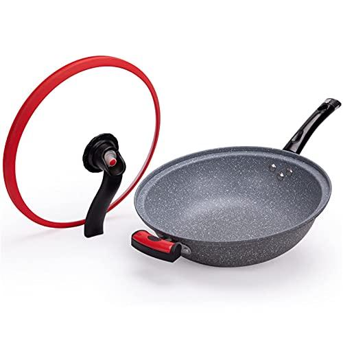 Piedra antiadherente Pan Wok antiadherente Utensilios de cocina sartén olla sopa olla multifunción Micro-presión Wok doble propósito inducción cocina gas