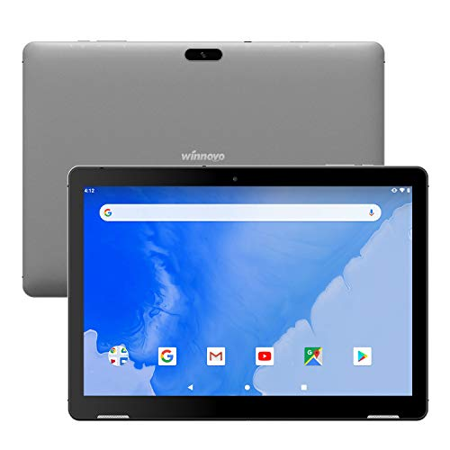 Tablet 10 Zoll Android 9.0 Pie - Winnovo T10 3GB RAM 32GB Speicher Quad Core 10,1 Zoll HD IPS Dual WiFi Front Zwei Lautsprecher GPS Bluetooth HDMI Google Verified (Grau)