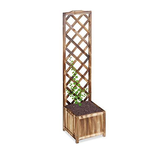 Relaxdays Rankkasten mit Rankgitter, wetterfest, Holz, für Balkon, Garten, Rosen, 25 L Kübel, 147 cm Rankhilfe, gebrannt