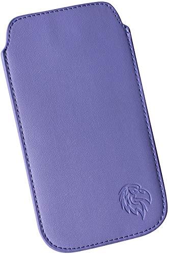 Dealbude24 Schutz Tasche für LG V35 ThinQ, Hülle Handy herausziehbar, dünnes Etui genäht mit Rausziehband, innen weiches Microfaser mit exklusiv Adler Motiv XXL Hell-Lila