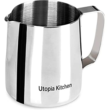 Utopia Kitchen Stainless Steel Milk Frothing Pitcher - Suitable for Coffee, Latte and Milk Frothing - 12 Oz - 350 ml