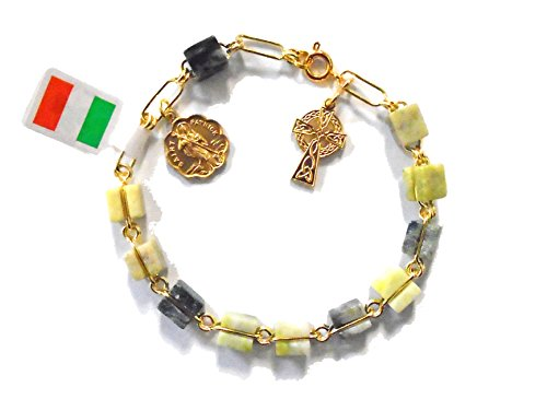 Connemara Irish Rosary Bracelet with Celtic Cross Marble