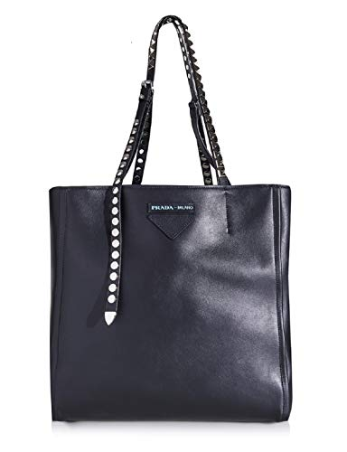 Prada Women's Concept Etiquette Nero Black Calfskin Calf Leather Tote Bag 1BG208