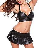 SxyBox Sexy Conjuntos de Lencería para Mujer Ropa Interior Erotica Babydoll Vestido de Charol Top BH + Mini Falda