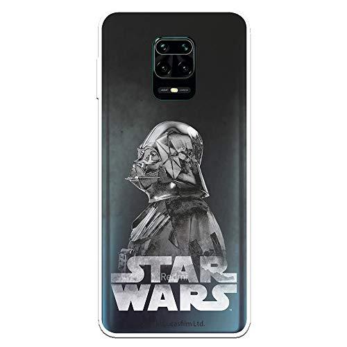 Funda para Xiaomi Redmi Note 9S - Note 9 Pro Oficial de Star Wars Darth Vader Fondo Negro para Proteger tu móvil. Carcasa para Xiaomi de Silicona Flexible con Licencia Oficial de Star Wars.
