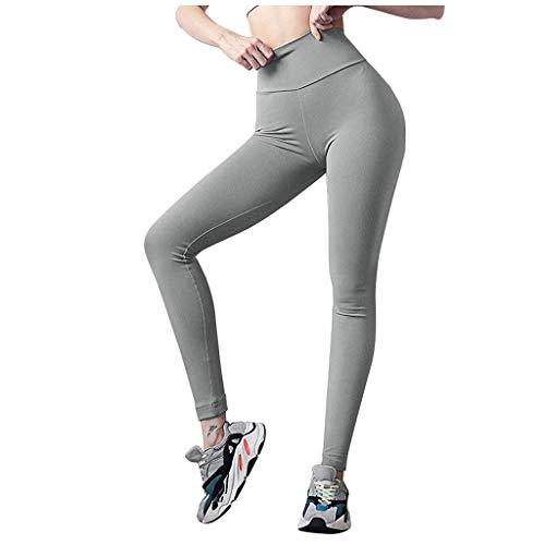 Pantalon de Yoga pour Femme, YUYOUG Mesdames Hip Pure Color Lifting Rides éLastique Fitness Course Pantalon De Yoga De Poche
