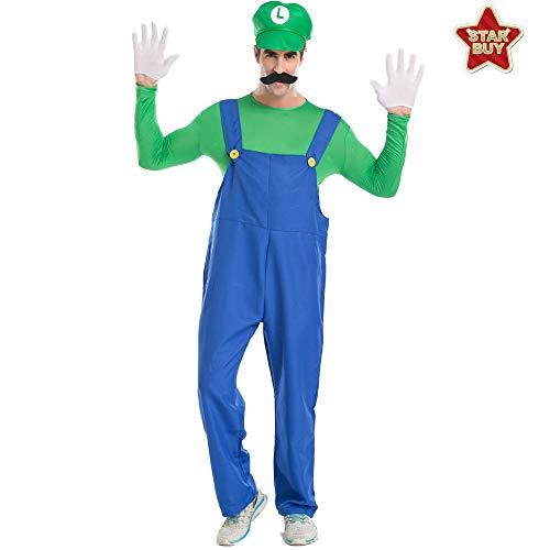 COSOER Mario Und Luigis Halloween-Cosplay-Kostüm Klempnergurte Eltern-Kind-Kleidung,GreenMale-S