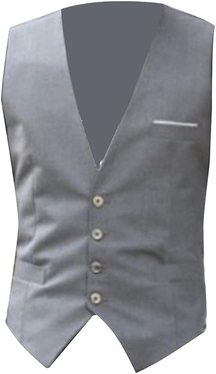 Fashion men's vest solid color V-neck sleeveless button blazer formal business jacket vest