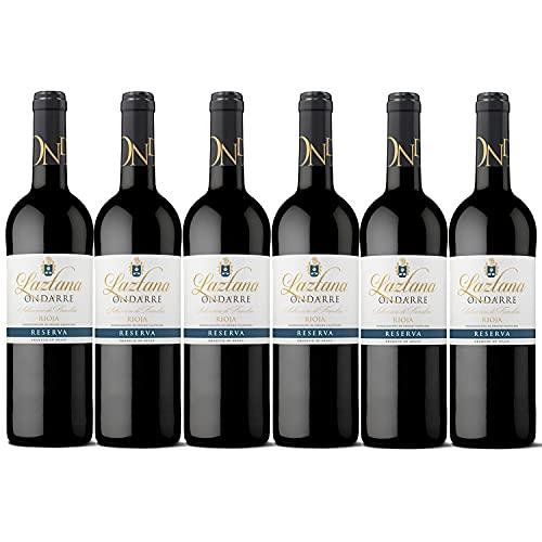 Ondarre Laztana - Vino Tinto Reserva, La Rioja, Vino con Esencia de Viana de Bodegas Olarra, Pack de 6 botellas de 750 ml