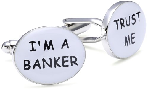 Teroon - 609003 - Boutons de Manchette Fantaisie Mixte - Trust me, I'm a Banker - Laiton