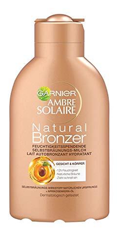 Garnier Ambre Solaire Natural Bronzer Feuchtigkeitsspendende Selbstbräunungs-Milch, für eine natürliche Bräune, zieht schnell ein, 150 ml