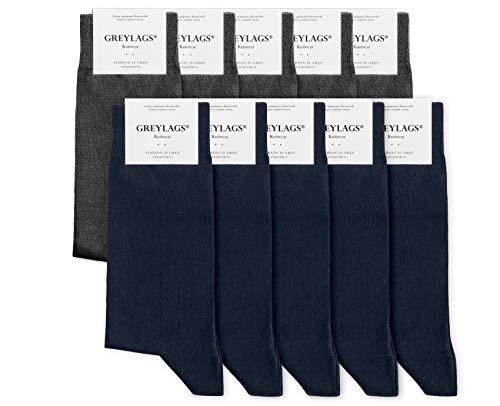 Greylags Premium 10er Pack Businesssocken Socken für Damen und Herren, Blau/Grau, Größe 39-42