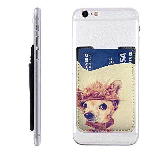 Inner-shop Mobiele Kaart WalletPocketCard MouwDierlijke Kleine Chihuahua in Leeuw Kostuum Toned met Retro Vintage Hond Grappige Halloween