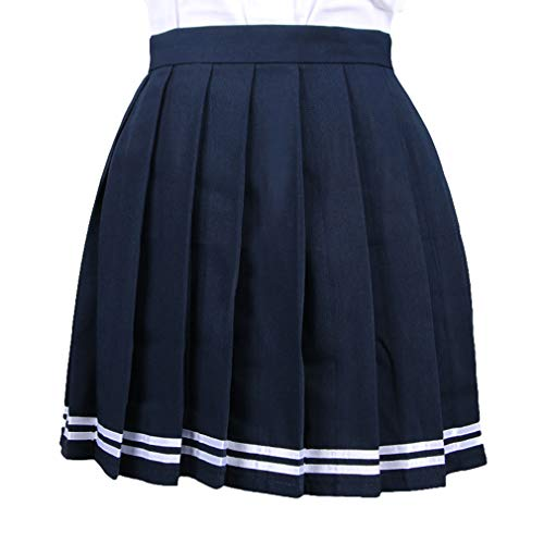 Yying Mujeres Retro Mini Falda Plisada Niñas Elástico Falda Corta Uniforme Escolar Plisado Skater Tenis Faldas Mini Vestido Azul + Blanco Strip L