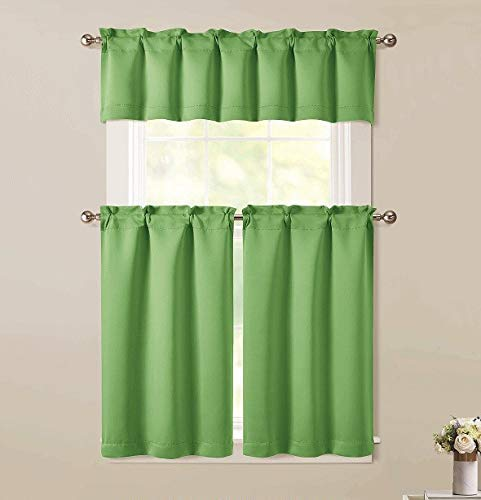 "LinenTopia 3pc Kitchen Curtain Set 2-Tier 36"" L and 1 Valance, Semi-Blackout, Woven Fabric, Short Tier Curtain Panels for Kitchen and Small Windows, (BT181, Lime Green)"