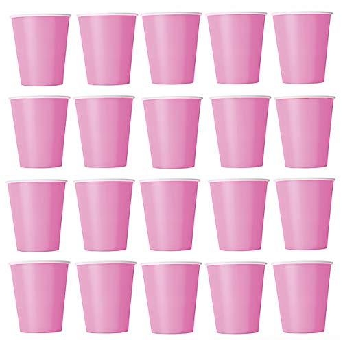 60 x Becher Rosa (Pink) Einwegbecher für Kaltgetränke und Heißgetränke aus Pappe umweltfreundlich, Hochzeit, Geburtstag, Kaffeebecher, Picknick, Garten, Party, Grillen Pink