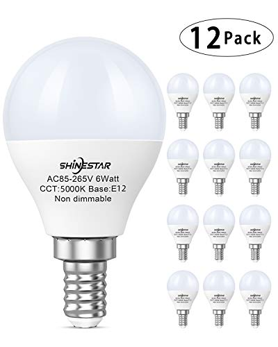 12-Pack E12 LED Ceiling Fan Light Bulbs 60 watt Equivalent, 5000K Daylight, A15 LED Round Bulb with Small Candelabra Base, Non-dimmable