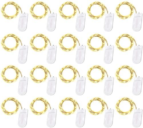 LED Lichterkette Batterie 20er, Othran 2 Meter Micro Kupfer Lichterketten, IP65 Wasserdicht, Warmweiß Dekorative Lichterkette Fairy Lights Für DIY Party Garten Hochzeit Weihnachten