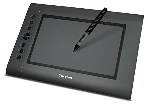 Turcom TS-6610 Graphic Tablet Drawing Tablets and Pen/Stylus for PC Mac Computer, 10 x 6.25 Inches Surface Area 2048 Levels of Pressure Sensitive Surface with 8 Hot Keys, 4000 LPI Resolution,