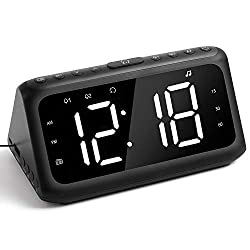IFECCO Digital Alarm Clock Radio, White Noise Machine with 20 Soothing Sounds, Large LED Display, Dual Alarm, Snooze, Brightness Dimmer, USB Charger, Best for Bedroom, Bedside, Heavy Sleepers, Kids