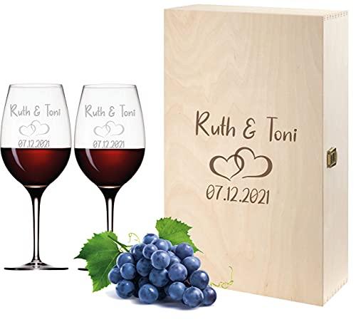 FORYOU24 2 Leonardo Weingläser mit Gravur und Holz Geschenkbox Gravur Paar Geschenkidee zur Hochzeit Verlobung Wein-Gläser graviert