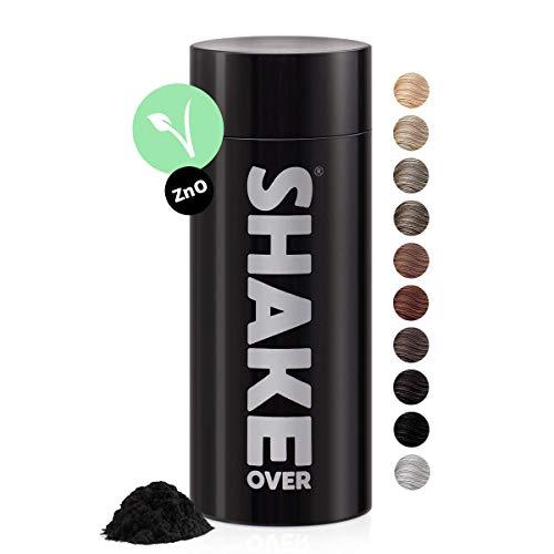 shake over fibre capillari ispessimento per capelli con fibre arricchite di zinco, densificante, volume capelli, Made in Europe (30 g, NERO)