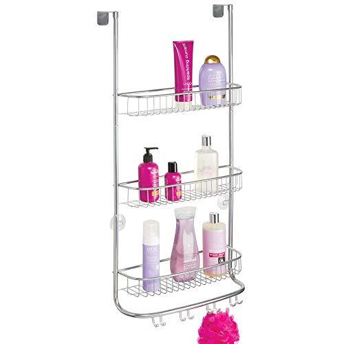 mDesign Duschkorb zum Hängen über die Duschtür – einfache Installation der Duschablage ohne Bohren – großes Duschregal aus Metall mit drei Ebenen und acht Haken – silberfarben
