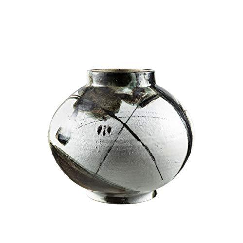 Jarrón Florero Decorativos Nuevo jarrón de cerámica de encimera de estilo chino, jarrón decorativo utilizado en la sala de estar y sala de estudio familiar, 10,2 pulgadas de alto Jarrones de Mesa