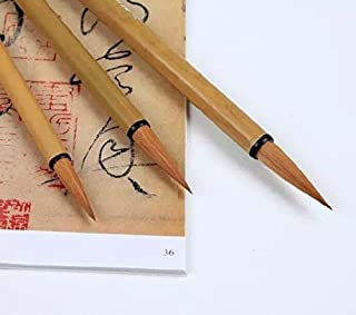 Easyou Hu Brush Chinese Brush for Running Cursive Script of Calligraphy and Landscape Drawing Bamboo Orchid Painting Pure Wolf Hair(Weasel) 3pcs/pack(Size:L+M+S) lhsh