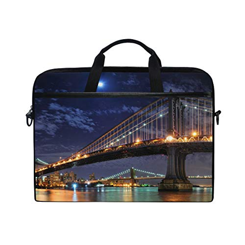 LZXO Laptop-Tasche 38,1 cm Aktentasche Brooklyn Bridge Mond Muster Laptop Schultertasche Kuriertasche Tragetasche Handtasche Schule Computer Tasche mit Gurt für Männer Frauen Schule