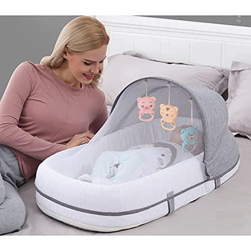 Cuna Bebe Plegable, Bolsa De Dormir Portátil para Mamá, Almohadilla para Estación De Cambio, Todas Las Bolsas Impermeables Cuna De Viaje Capacidad para Bebés para Mamás, Papás, Gris