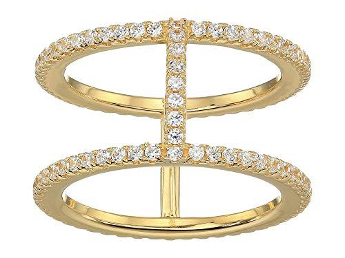 Michael Kors Precioso chapado en metal plata esterlina pavé anillo chaqueta oro 8