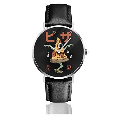 Unisex Business Casual Yokai Pizza Uhren Quarz Leder Uhr mit schwarzem Lederband für Herren Damen Young Collection Geschenk